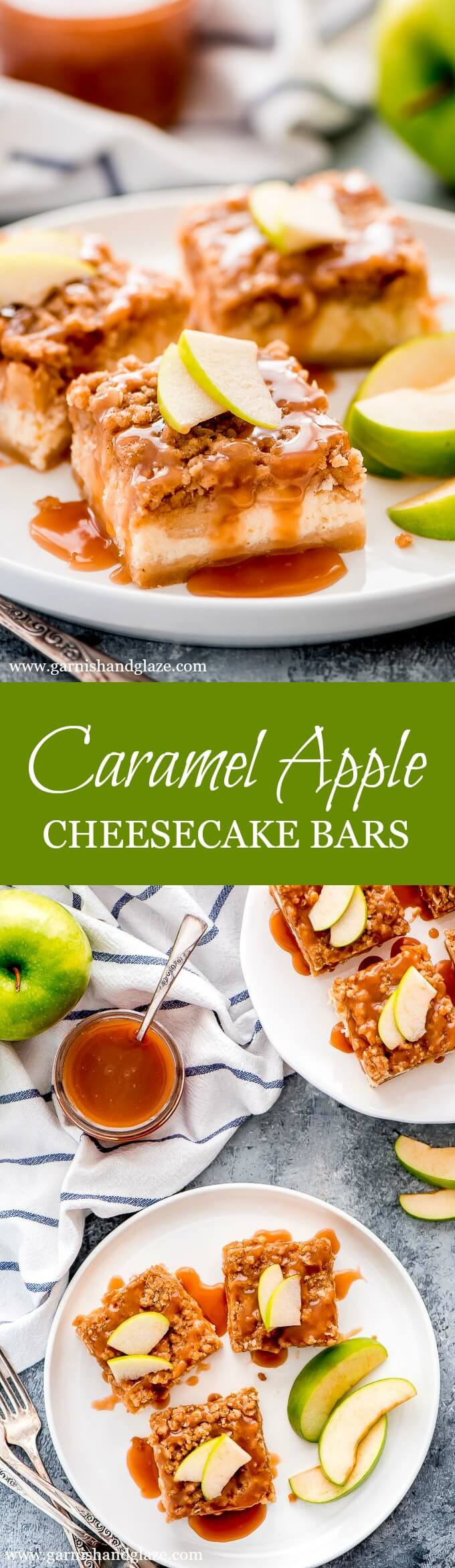 With layers of short bread crust, cheesecake, apples, streusel, and caramel drizzle, these Caramel Apple Cheesecake Bars are the perfect fall dessert.