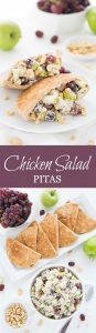 Chicken Salad Pitas are a delicious lunch or dinner made healthy using Greek yogurt and canola oil mayonnaise.