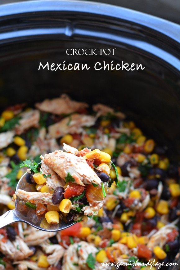 crock pot mexican chicken garnish glaze