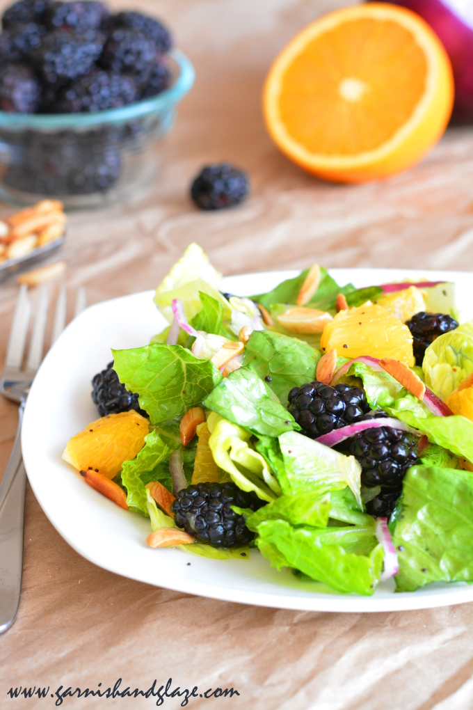 Blackberry Orange Sunrise Salad with homemade Poppy Seed Salad Dressing | Garnish & Glaze