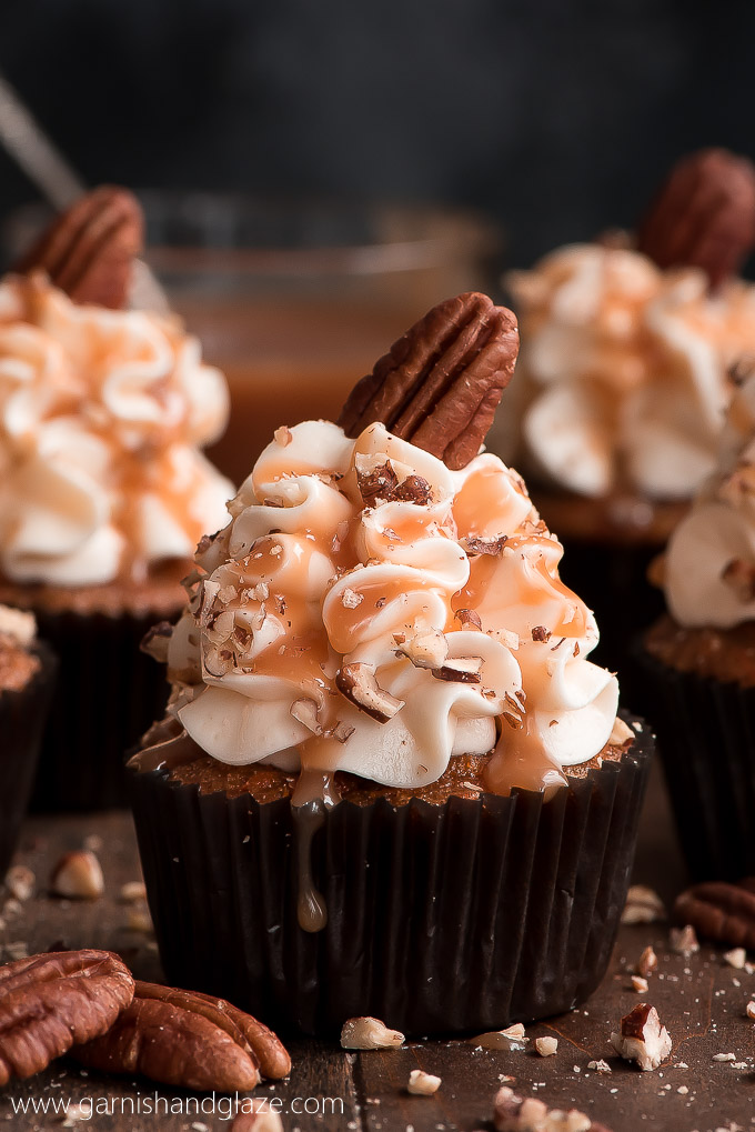 With A Super Moist Cake And Silky Smooth Cream Cheese Frosting Caramel Pecan Carrot Cupcakes