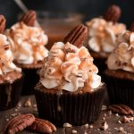 With a super moist cake and silky smooth cream cheese frosting, CARAMEL PECAN CARROT CUPCAKES are more than a dream come true.