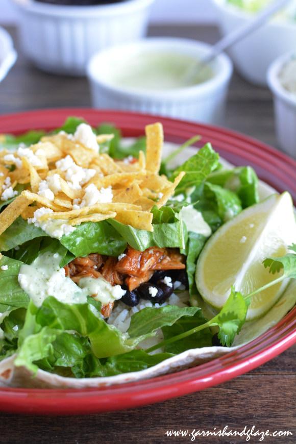 Cafe Rio {Copycat} Sweet Pork Salad | Garnish & Glaze