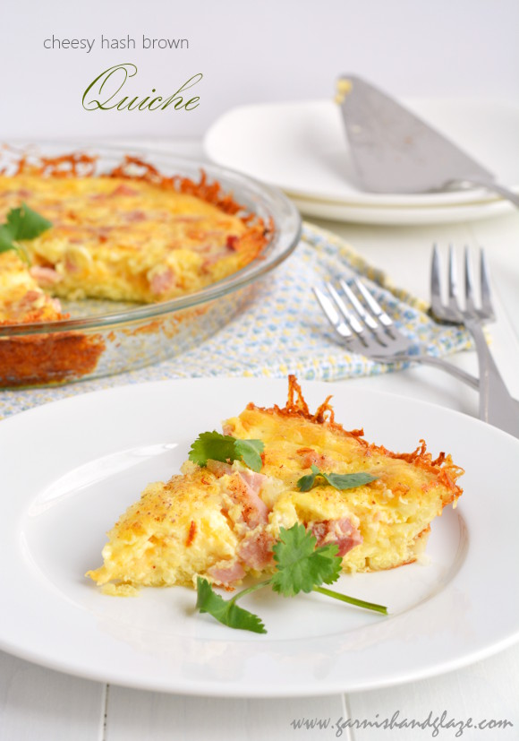 Cheesy Hash Brown Quiche Garnish Glaze