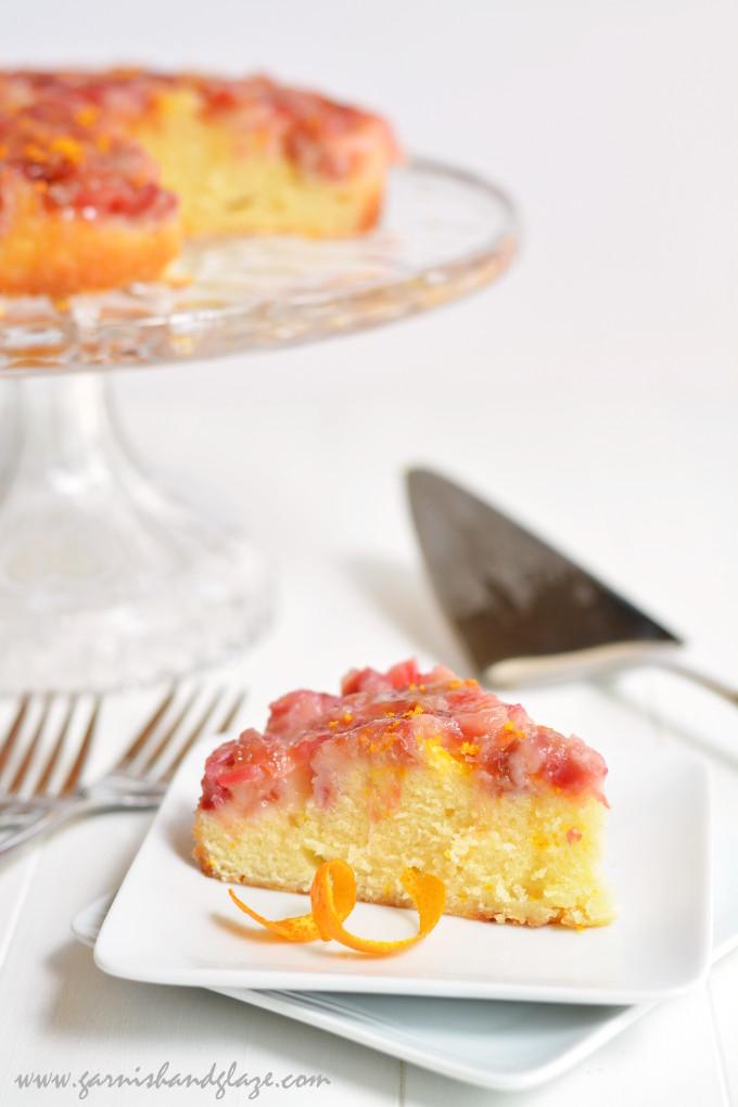 Rhubarb Upside-Down Coffee Cake | Garnish & Glaze