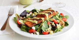 Blackened Salmon Salad with Avocado Ranch Dressing   Garnish & Glaze