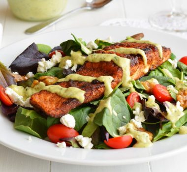 Blackened Salmon Salad with Avocado Ranch Dressing | Garnish & Glaze