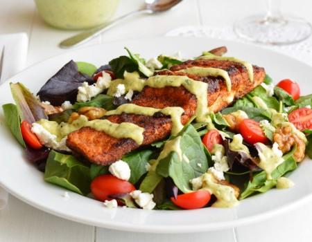Blackened Salmon Salad with Avocado Ranch Dressing | Garnish & Glaze