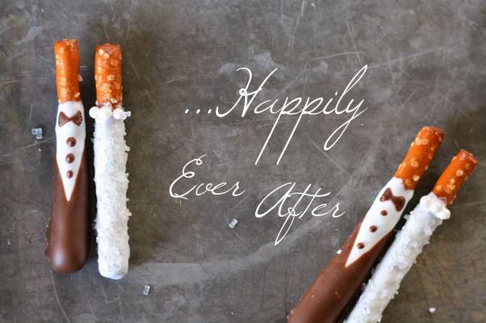 Bride & Groom Pretzel Rods - Garnish & Glaze