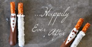 Bride & Groom Pretzel Rods   Garnish & Glaze