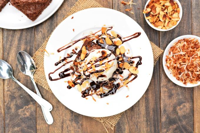 Chocolate CocoNUT Brownie Sundae   Garnish & Glaze