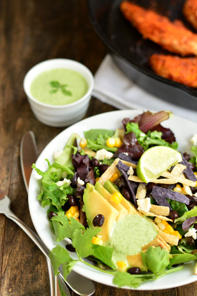 Chipotle Chicken Salad with Cilantro Lime Dressing | Garnish and Glaze