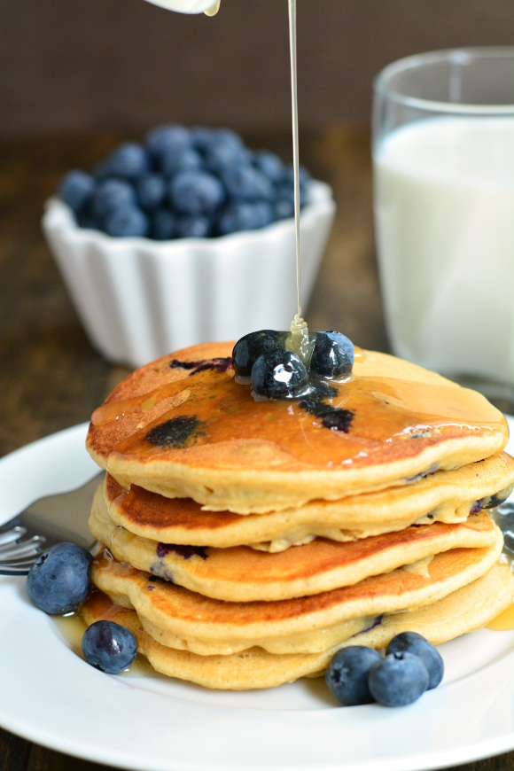 Whole Wheat Blueberry Buttermilk Pancakes | Garnish & Glaze