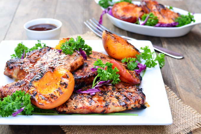 Barbecued Pork Chops with Grilled Peaches