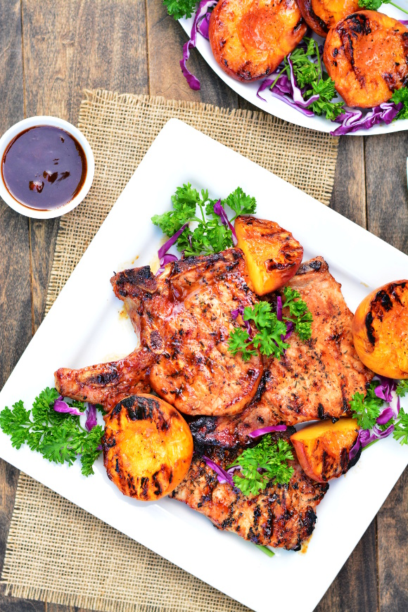 Barbecue Pork Chops with Grilled Peaches   Garnish & Glaze