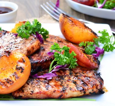 Barbecue Pork Chops with Grilled Peaches | Garnish & Glaze