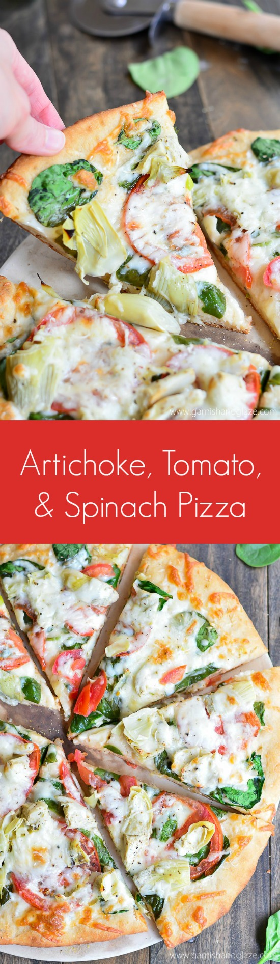 Go meatless with this veggie topped Artichoke, Tomato, and Spinach Pizza made on a No Knead, No Rise Pizza Dough crust.