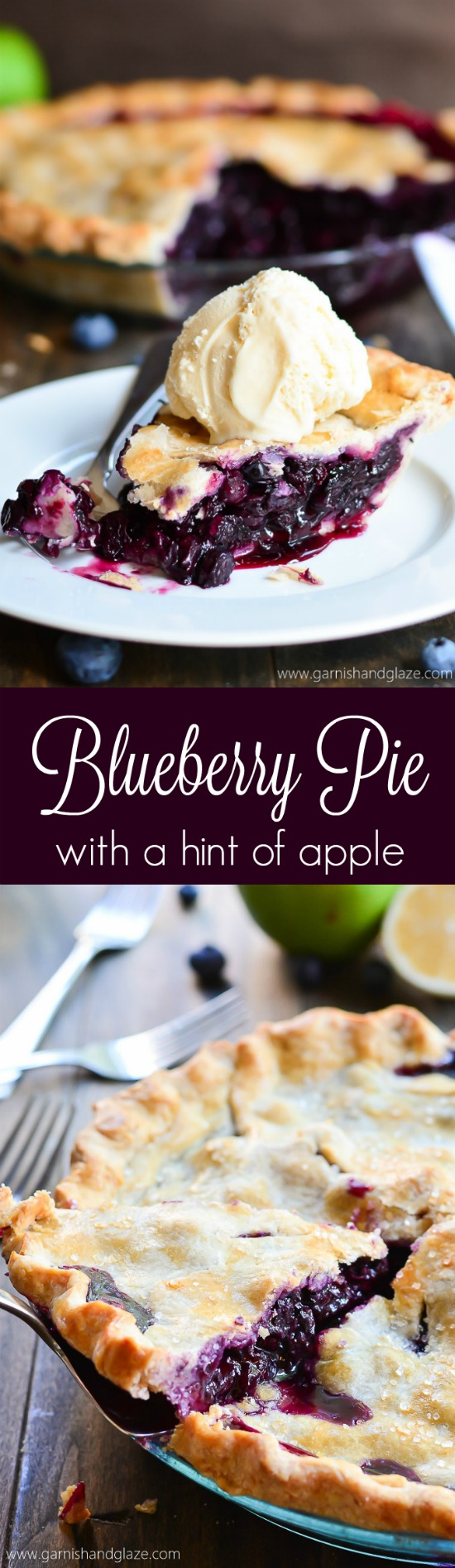 Simple blueberry pie made with fresh berries and a grated apple.