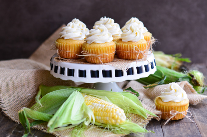 Embrace the summer corn season with these light and tender Cornbread Cupcakes topped with a sweet silky Honey Buttercream Frosting.