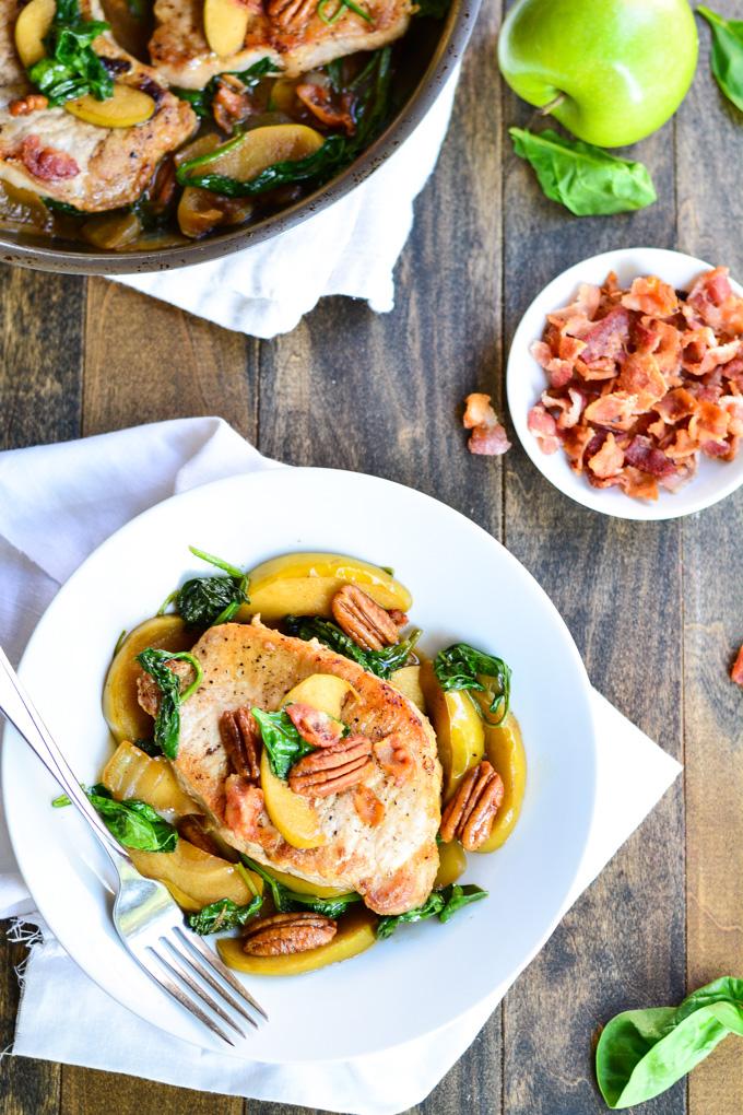 Apple & Spinach Pork Chops | Garnish & Glaze