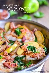 Apple & Spinach Pork Chops   Garnish & Glaze