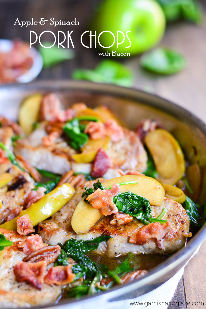 Today I bring you Apple & Spinach Pork Chops… with BACON! Oh yeah ...