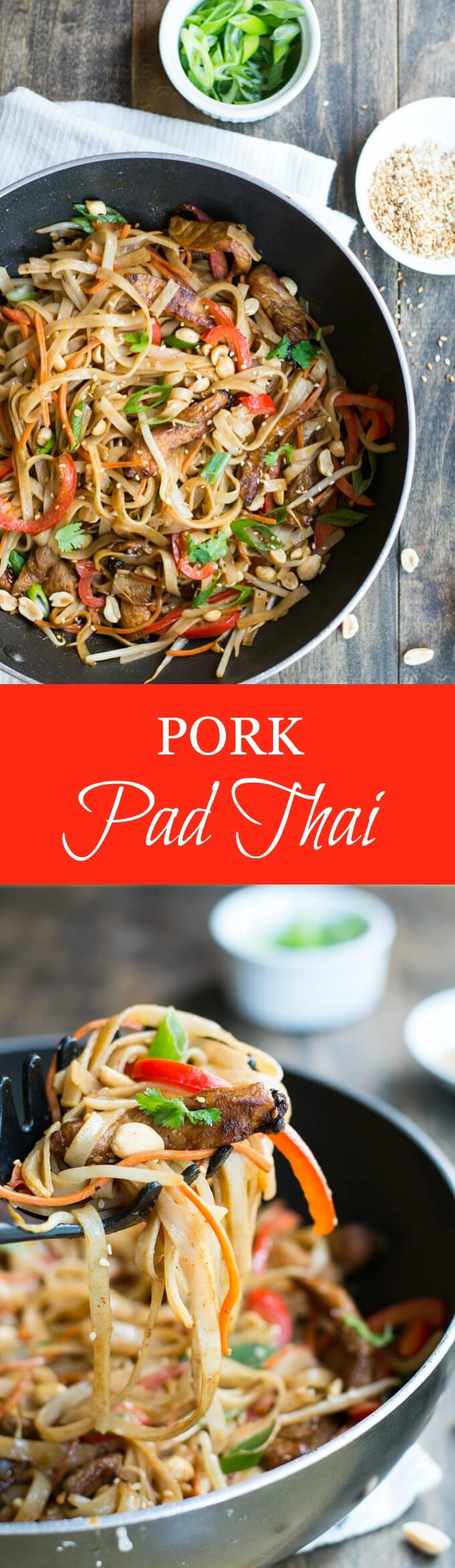 Skip going out to eat and make this Pork Pad Thai at home for a veggie and protein filled delicious dinner that comes together in just 30 minutes!
