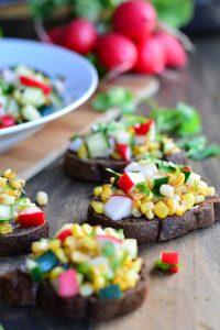 Corn, Cucumber, and Radish Tartines   Garnish and Glaze
