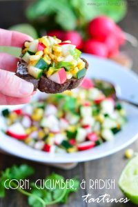 Corn, Cucumber, and Radish Tartines | Garnish and Glaze