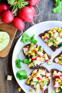 Corn, Cucumber, and Radish Tartines | Garnish and Glaze