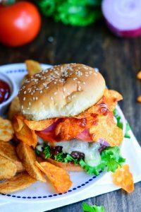 Triple BBQ Crunch Burger   Garnish & Glaze