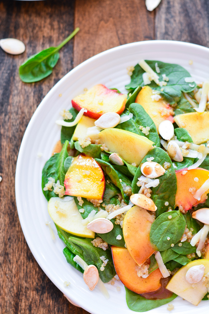 Peach & Apple Salad with Cinnamon Honey Vinaigrette | Garnish & Glaze