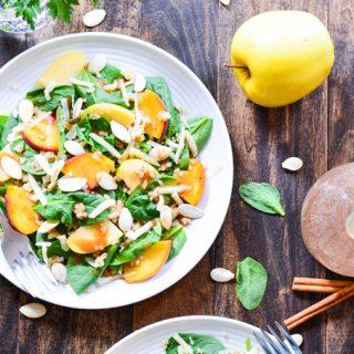 Peach & Apple Quinoa Salad with Cinnamon Honey Vinaigrette