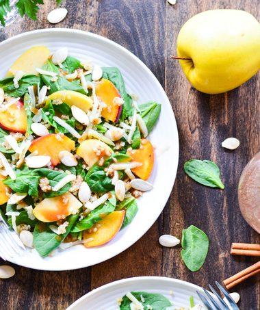 Peach & Apple Quinoa Salad with Cinnamon Honey Vinaigrette | Garnish & Glaze