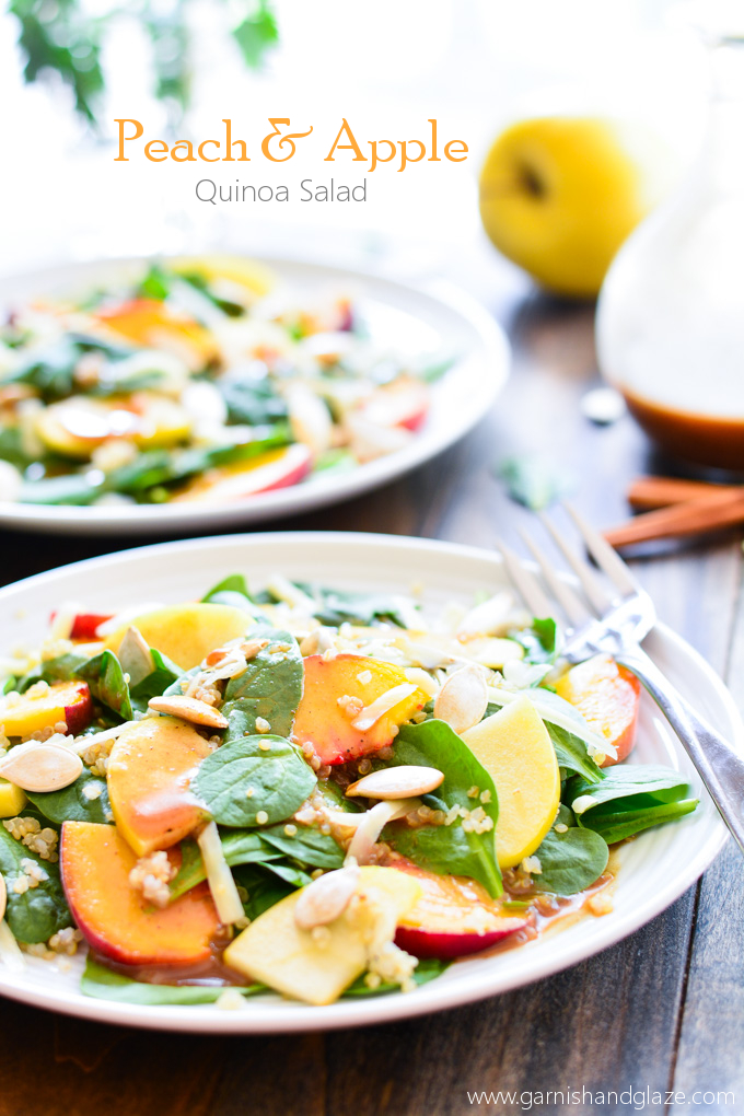 Peach & Apple Quinoa Salad with Cinnamon Honey Vinaigrette | Garnish & Glaze