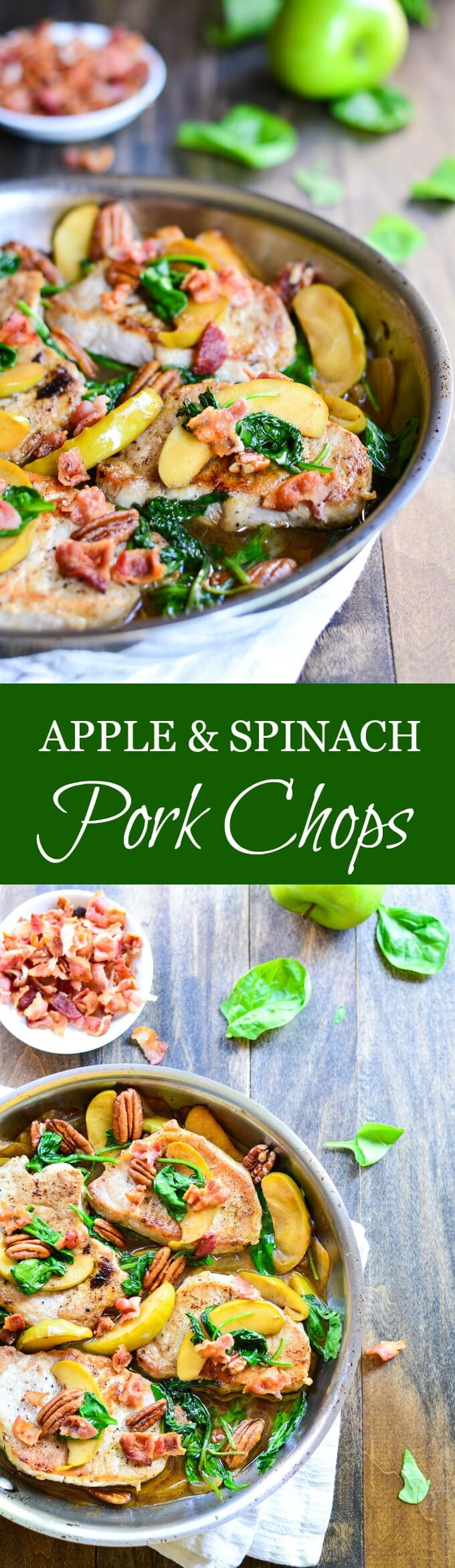 Seared APPLE AND SPINACH PORK CHOPS with wilted spinach, sweet apples, and crispy bacon is made in just 30 minutes in one pan.