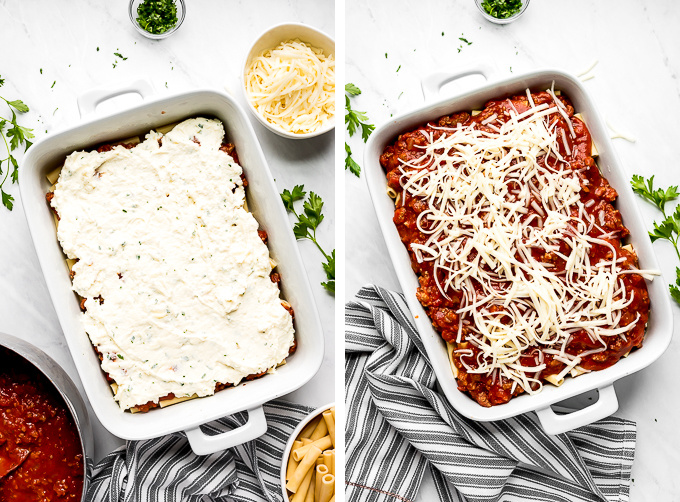 White 9x13 baking pan of layers of noodles, red sauce, and ricotta mixture. Another photo showing additional layers of noodles, sauce, and shredded mozzarella cheese.