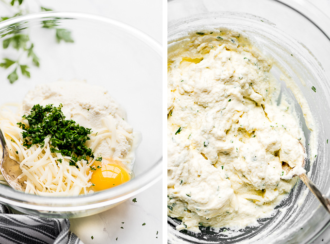 Two images: Mozzarella, ricotta, egg, and parsley in a bowl; Cheese mixture with a spoon.