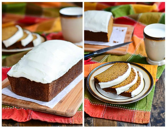 This Moist Pumpkin Bread topped with Cream Cheese Frosting is the best way to enjoy pumpkin this fall with friends and family!