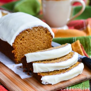 Moist Pumpkin Bread with Cream Cheese Frosting
