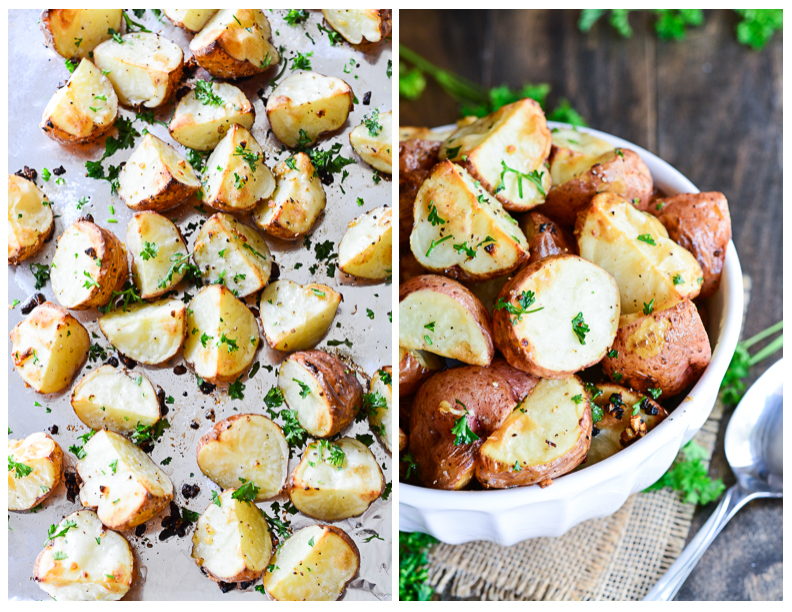 Garlic Roasted Red Potatoes on a baking sheet ready to serve up.