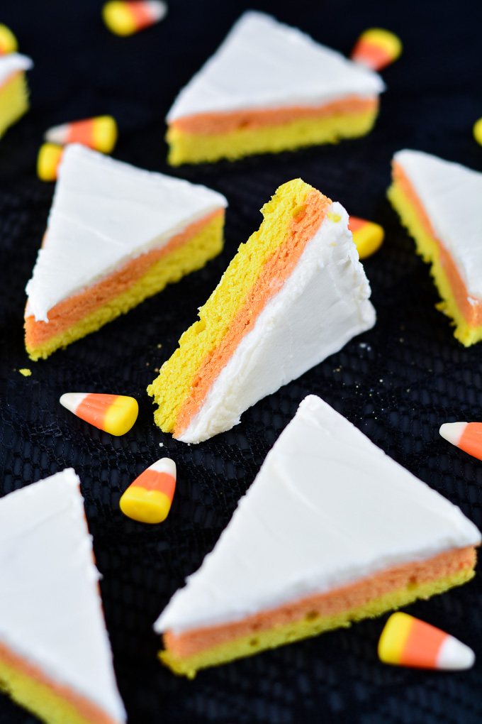 Close up of the yellow, orange, and white layers in Candy Corn Sugar Cookie Bars.