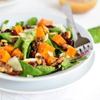 Roasted Butternut Squash Salad with Warm Apple Cider Vinaigrette