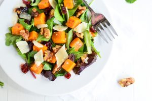 Roasted Butternut Squash Salad with Warm Apple Cider Vinaigrette | Garnish & Glaze
