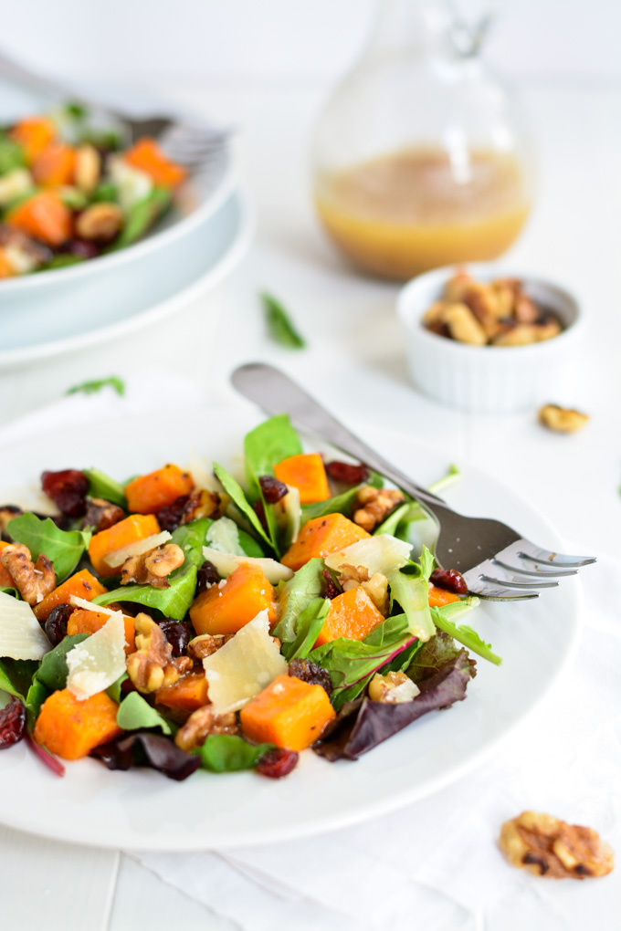 Roasted Butternut Squash Salad with Warm Apple Cider Vinaigrette   Garnish & Glaze