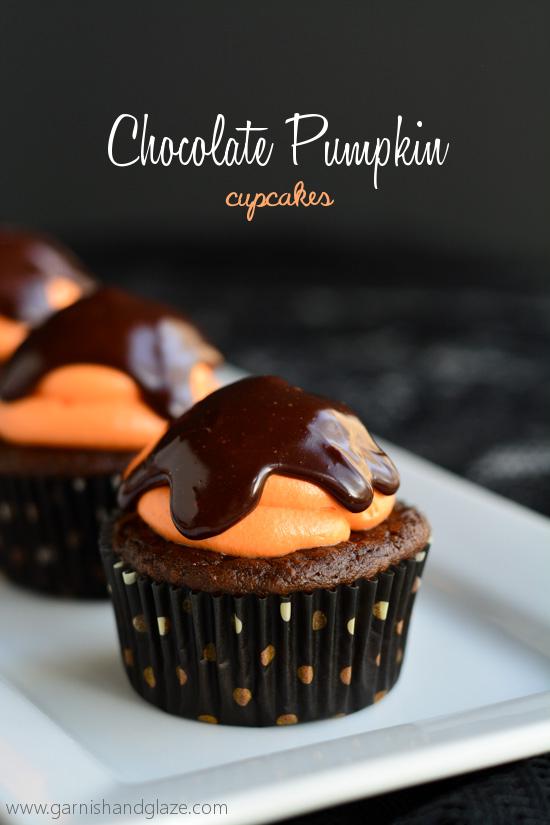 Chocolate Pumpkin Cupcakes | Garnish & Glaze