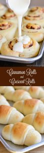 Kill two birds with one stone by making crescent rolls and cinnamon rolls from one dough. Plus they are the best soft and buttery rolls you'll ever have! You'll be making them for every holiday!