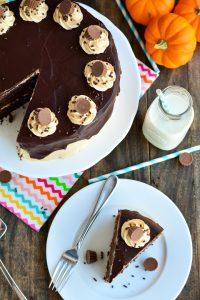 Peanut Butter Chocolate Pumpkin Cake | Garnish & Glaze #peanutbutterbash