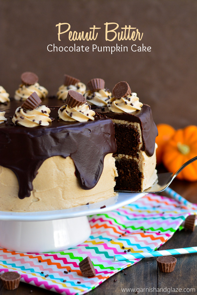 Peanut Butter Chocolate Pumpkin Cake | Garnish & Glaze ‪#‎peanutbutterbash