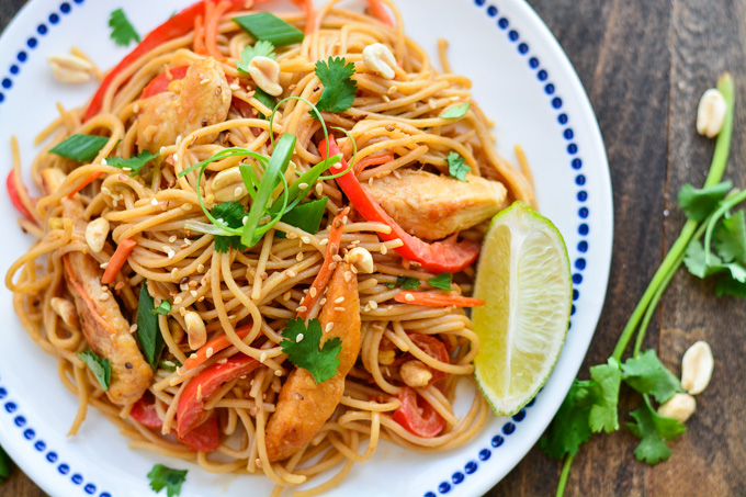 THAI CHICKEN PEANUT NOODLES are made up of whole wheat noodles, lean ...